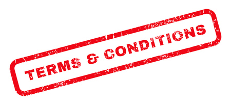 Terms & Conditions text rubber seal stamp watermark. Tag inside rounded rectangular banner with grunge design and unclean texture. Slanted vector red ink emblem on a white background.