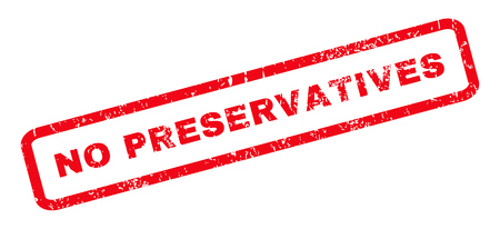 preservatives: No Preservatives text rubber seal stamp watermark. Tag inside rounded rectangular banner with grunge design and dirty texture. Slanted glyph red ink sticker on a white background. Stock Photo