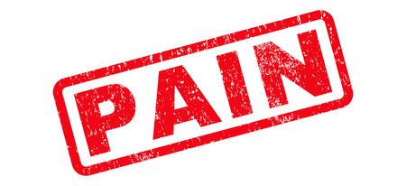 Pain text rubber seal stamp watermark. Tag inside rounded rectangular banner with grunge design and scratched texture. Slanted glyph red ink sticker on a white background. Stock Photo