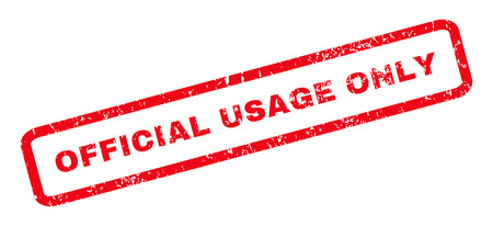 usage: Official USAge Only text rubber seal stamp watermark. Caption inside rounded rectangular shape with grunge design and dirty texture. Slanted glyph red ink emblem on a white background. Stock Photo