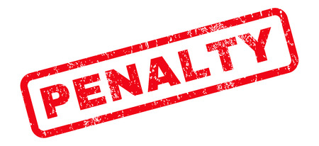 penalty: Penalty text rubber seal stamp watermark. Caption inside rounded rectangular shape with grunge design and dirty texture. Slanted glyph red ink sticker on a white background.