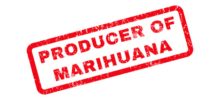 marihuana: Producer Of Marihuana text rubber seal stamp watermark. Caption inside rounded rectangular shape with grunge design and scratched texture. Slanted glyph red ink sticker on a white background. Stock Photo