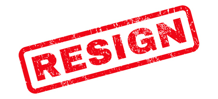 Resign text rubber seal stamp watermark. Tag inside rounded rectangular banner with grunge design and dust texture. Slanted glyph red ink emblem on a white background.