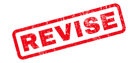 revise: Revise text rubber seal stamp watermark. Tag inside rounded rectangular shape with grunge design and dust texture. Slanted glyph red ink sign on a white background.