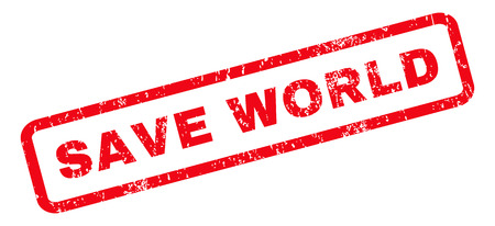 save the world: Save World text rubber seal stamp watermark. Caption inside rounded rectangular banner with grunge design and unclean texture. Slanted glyph red ink sticker on a white background.