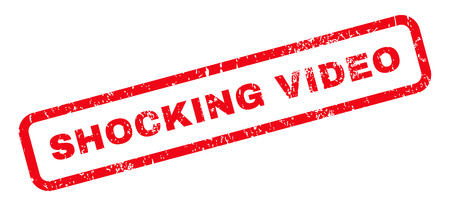 shocking: Shocking Video text rubber seal stamp watermark. Tag inside rounded rectangular banner with grunge design and dirty texture. Slanted glyph red ink emblem on a white background.