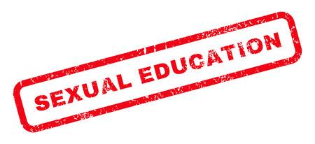 educacion sexual: Educación Sexual texto marca de agua sello de junta de goma. Leyenda redondeado en el interior de forma rectangular con diseño de grunge y textura sucia. glifo emblema inclinada tinta roja sobre un fondo blanco.