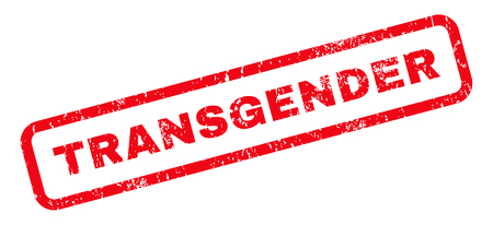 trashy: Transgender text rubber seal stamp watermark. Tag inside rounded rectangular banner with grunge design and unclean texture. Slanted glyph red ink sticker on a white background.