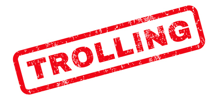 trolling: Trolling text rubber seal stamp watermark. Caption inside rounded rectangular shape with grunge design and scratched texture. Slanted glyph red ink sign on a white background.