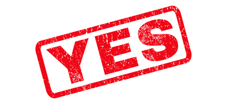 confirmed verification: Yes text rubber seal stamp watermark. Tag inside rounded rectangular banner with grunge design and scratched texture. Slanted glyph red ink emblem on a white background. Stock Photo