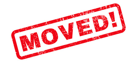 Moved! text rubber seal stamp watermark. Tag inside rounded rectangular banner with grunge design and scratched texture. Slanted glyph red ink sticker on a white background.