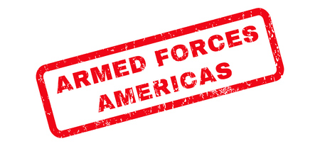 americas: Armed Forces Americas text rubber seal stamp watermark. Caption inside rounded rectangular banner with grunge design and dust texture. Slanted glyph red ink emblem on a white background.