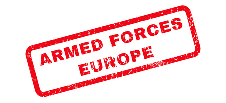 armed services: Armed Forces Europe text rubber seal stamp watermark. Tag inside rounded rectangular banner with grunge design and unclean texture. Slanted glyph red ink emblem on a white background.