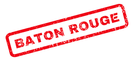 baton rouge: Baton Rouge text rubber seal stamp watermark. Caption inside rounded rectangular shape with grunge design and dirty texture. Slanted glyph red ink emblem on a white background. Stock Photo