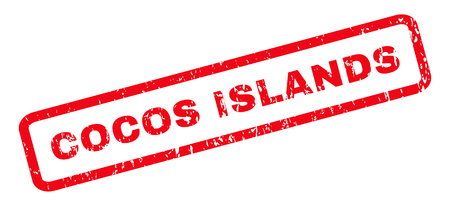cocos: Cocos Islands text rubber seal stamp watermark. Caption inside rounded rectangular shape with grunge design and dust texture. Slanted glyph red ink sign on a white background. Stock Photo