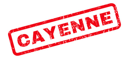 cayenne: Cayenne text rubber seal stamp watermark. Tag inside rounded rectangular banner with grunge design and dust texture. Slanted glyph red ink sticker on a white background. Stock Photo