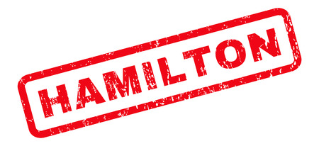 hamilton: Hamilton text rubber seal stamp watermark. Tag inside rounded rectangular shape with grunge design and scratched texture. Slanted glyph red ink emblem on a white background.
