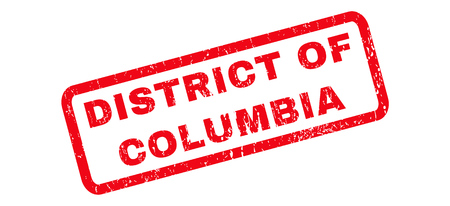 district of columbia: District Of Columbia text rubber seal stamp watermark. Caption inside rounded rectangular banner with grunge design and dirty texture. Slanted glyph red ink sign on a white background.
