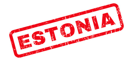 estonian: Estonia text rubber seal stamp watermark. Caption inside rounded rectangular banner with grunge design and dust texture. Slanted glyph red ink emblem on a white background. Stock Photo