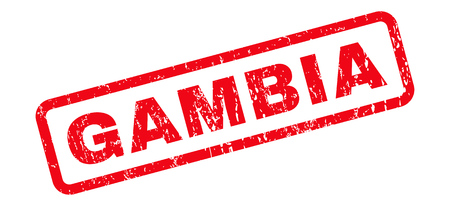 gambia: Gambia text rubber seal stamp watermark. Caption inside rounded rectangular banner with grunge design and scratched texture. Slanted glyph red ink sign on a white background.