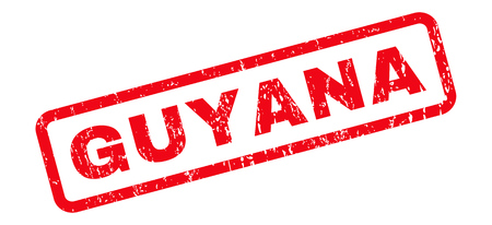 guyanese: Guyana text rubber seal stamp watermark. Caption inside rounded rectangular shape with grunge design and unclean texture. Slanted glyph red ink sign on a white background.
