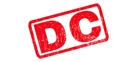 district of columbia: DC text rubber seal stamp watermark. Caption inside rounded rectangular banner with grunge design and dust texture. Slanted glyph red ink emblem on a white background.