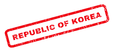 Republic Of Korea text rubber seal stamp watermark. Caption inside rounded rectangular shape with grunge design and scratched texture. Slanted glyph red ink emblem on a white background.