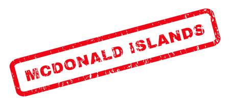 mcdonald: Mcdonald Islands text rubber seal stamp watermark. Caption inside rounded rectangular banner with grunge design and unclean texture. Slanted glyph red ink sign on a white background.