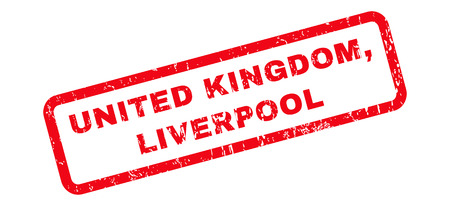liverpool: United Kingdom, Liverpool text rubber seal stamp watermark. Caption inside rounded rectangular banner with grunge design and dust texture. Slanted glyph red ink sticker on a white background.