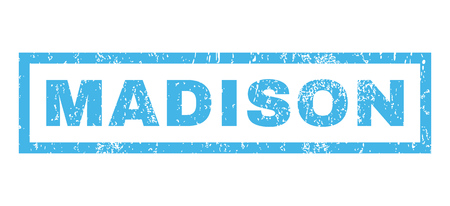 madison: Madison text rubber seal stamp watermark. Caption inside rectangular shape with grunge design and dust texture. Horizontal vector blue ink sticker on a white background.