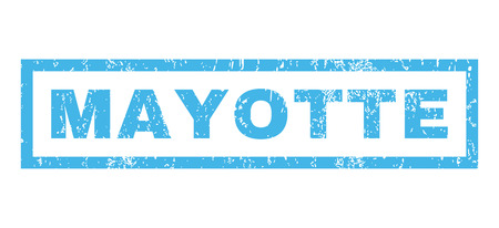 mayotte: Mayotte text rubber seal stamp watermark. Caption inside rectangular banner with grunge design and unclean texture. Horizontal vector blue ink sticker on a white background.