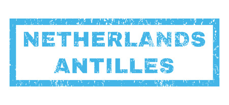 antilles: Netherlands Antilles text rubber seal stamp watermark. Tag inside rectangular banner with grunge design and dust texture. Horizontal vector blue ink sticker on a white background.