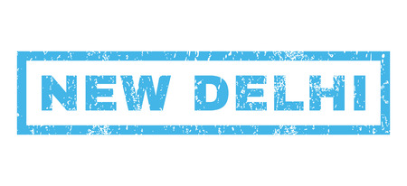 new delhi: New Delhi text rubber seal stamp watermark. Tag inside rectangular shape with grunge design and scratched texture. Horizontal vector blue ink emblem on a white background.
