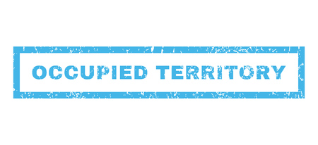 occupied: Occupied Territory text rubber seal stamp watermark. Tag inside rectangular shape with grunge design and unclean texture. Horizontal vector blue ink emblem on a white background. Illustration