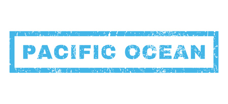 pacific ocean: Pacific Ocean text rubber seal stamp watermark. Caption inside rectangular shape with grunge design and dirty texture. Horizontal vector blue ink sticker on a white background.