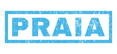 praia: Praia text rubber seal stamp watermark. Caption inside rectangular shape with grunge design and unclean texture. Horizontal vector blue ink sign on a white background. Illustration