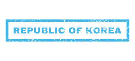 republic of korea: Republic Of Korea text rubber seal stamp watermark. Caption inside rectangular shape with grunge design and dust texture. Horizontal vector blue ink sticker on a white background. Illustration