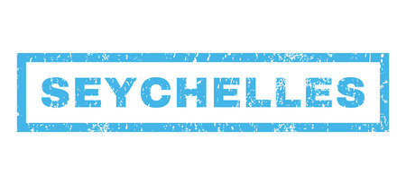 Seychelles text rubber seal stamp watermark. Caption inside rectangular shape with grunge design and scratched texture. Horizontal vector blue ink emblem on a white background.