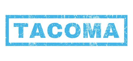 tacoma: Tacoma text rubber seal stamp watermark. Caption inside rectangular banner with grunge design and unclean texture. Horizontal vector blue ink emblem on a white background. Illustration