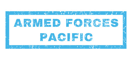armed services: Armed Forces Pacific text rubber seal stamp watermark. Caption inside rectangular shape with grunge design and dirty texture. Horizontal glyph blue ink emblem on a white background.