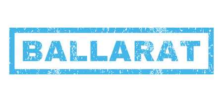 ballarat: Ballarat text rubber seal stamp watermark. Caption inside rectangular banner with grunge design and dirty texture. Horizontal glyph blue ink emblem on a white background. Stock Photo