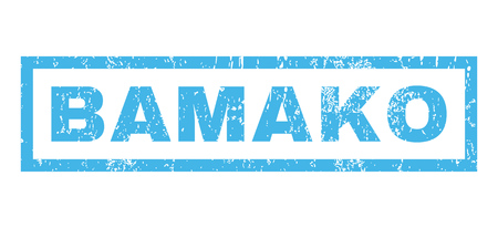 bamako: Bamako text rubber seal stamp watermark. Caption inside rectangular shape with grunge design and dirty texture. Horizontal glyph blue ink sticker on a white background.