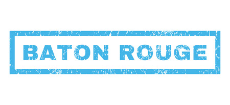 baton rouge: Baton Rouge text rubber seal stamp watermark. Tag inside rectangular banner with grunge design and dust texture. Horizontal glyph blue ink sticker on a white background. Stock Photo
