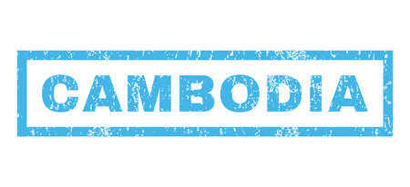 cambodian: Cambodia text rubber seal stamp watermark. Caption inside rectangular shape with grunge design and dust texture. Horizontal glyph blue ink sign on a white background. Stock Photo
