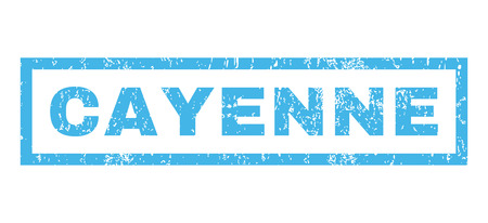 cayenne: Cayenne text rubber seal stamp watermark. Caption inside rectangular banner with grunge design and dirty texture. Horizontal glyph blue ink sign on a white background.