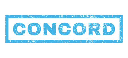 concord: Concord text rubber seal stamp watermark. Tag inside rectangular banner with grunge design and unclean texture. Horizontal glyph blue ink sign on a white background. Stock Photo