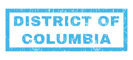 district of columbia: District Of Columbia text rubber seal stamp watermark. Tag inside rectangular banner with grunge design and scratched texture. Horizontal glyph blue ink sticker on a white background. Stock Photo
