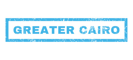 greater: Greater Cairo text rubber seal stamp watermark. Tag inside rectangular shape with grunge design and dirty texture. Horizontal glyph blue ink sign on a white background.