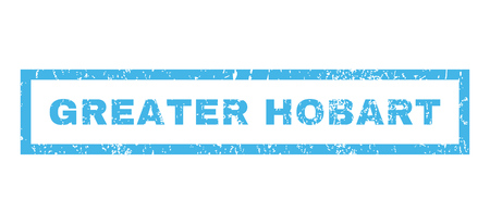 greater: Greater Hobart text rubber seal stamp watermark. Caption inside rectangular shape with grunge design and scratched texture. Horizontal glyph blue ink sticker on a white background.