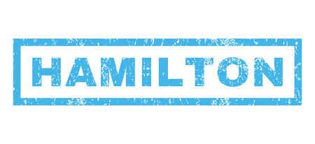 hamilton: Hamilton text rubber seal stamp watermark. Caption inside rectangular shape with grunge design and dust texture. Horizontal glyph blue ink sticker on a white background.